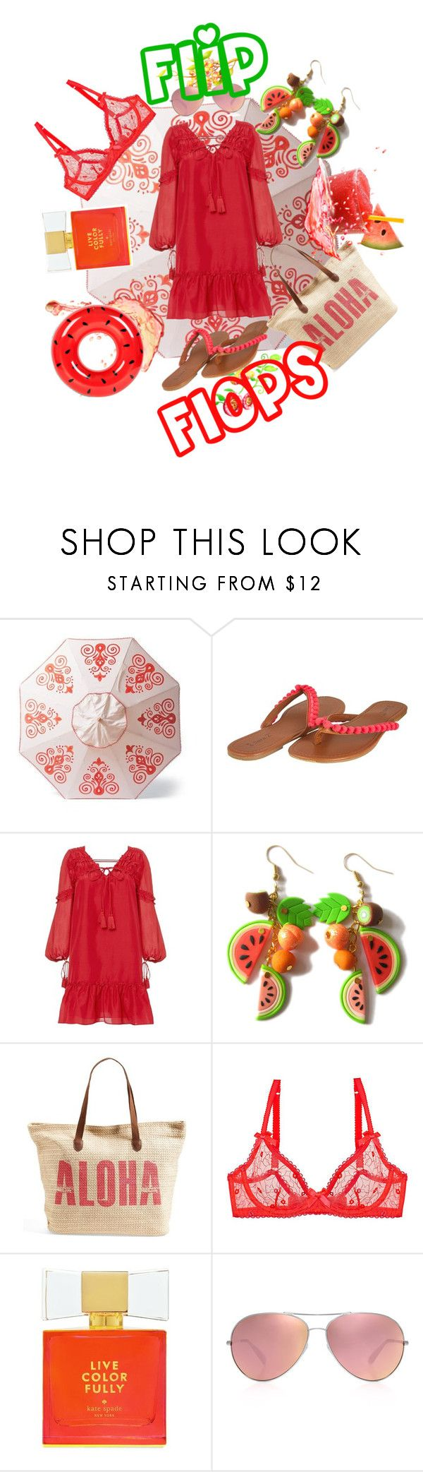 """Flip flops style"" by yvonne1406 ❤ liked on Polyvore featuring Frontgate, 10 Crosby Derek Lam, Rip Curl, L'Agent By Agent Provocateur, Kate Spade, Oliver Peoples and Sunnylife"