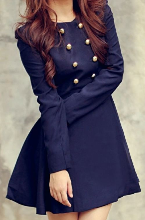Vestitini con bottoni: Minis Dresses, Hair Colors, Navy Coats, Cute Dresses, Blair Waldorf, Navy Dresses, Military Style, Blue Coats, Trench Coats