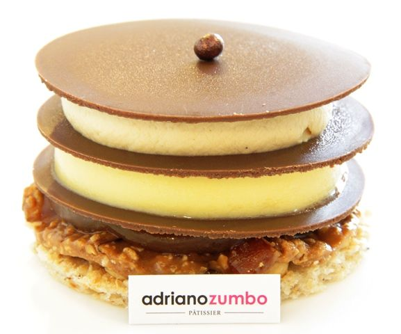 Adriano Zumbo - dirty dani (caramel creme chantilly, passionfruit creme, salted caramel mou, hazelnut dacquoise, caramel crunch, milk chocolate plaques)