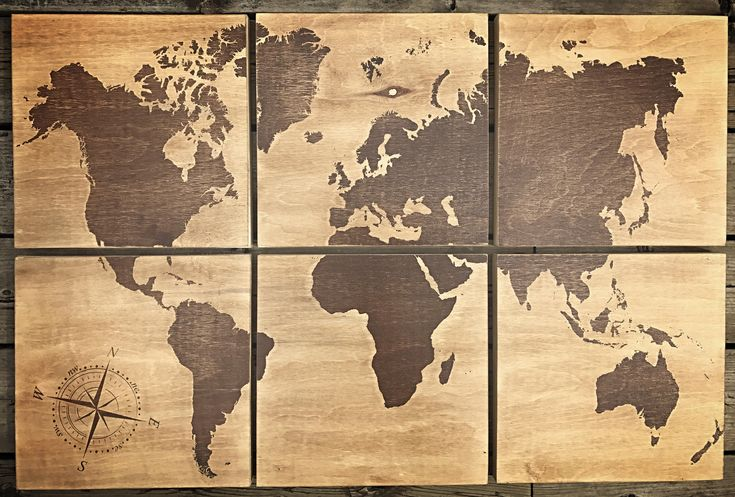 24x36 world map screen printed with brown stain by CreationsSauvages on Etsy