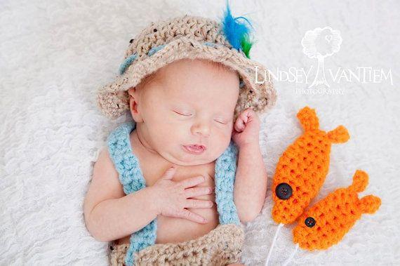 Handmade Crochet Newborn Fishing Outfit Fly Fishing Hat