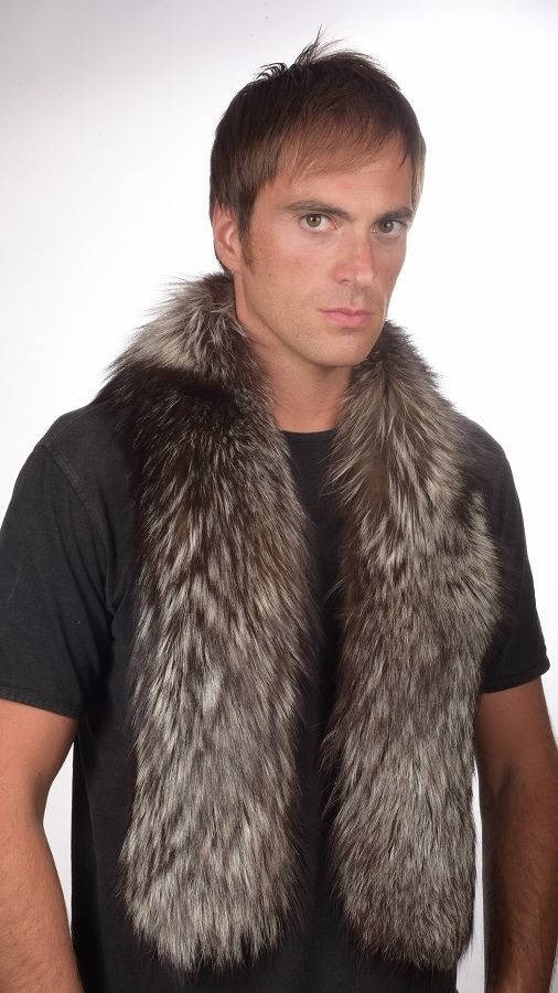 Authentic silver fox fur scarf, unisex for both women & men. Real fur scarf, handmade in Italy.  www.amifur.com