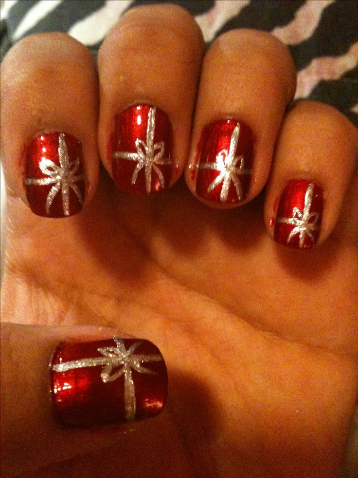 Christmas Present Nail Design! A little sloppy and needed cleaned up but cute.: