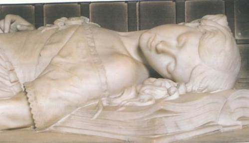 The tomb of Princess Elizabeth Stuart of England. Died a hostage of Cromwell's government, she was found dead with her head on the Bible her executed father gave her on their last meeting.