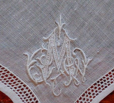 Em's Heart Antique Linens -Antique Monogram Hanky