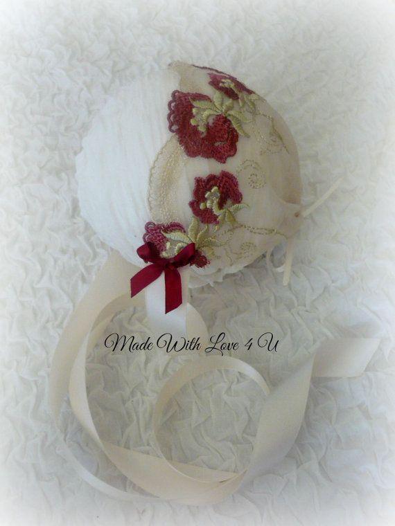 Newborn lace bonnet. by MadeWithLove4U01 on Etsy