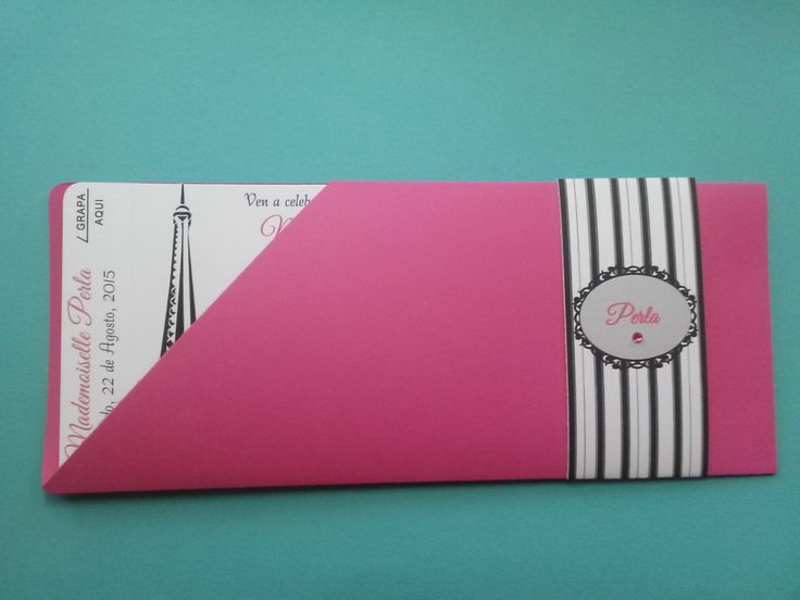 Fuchsia Passport to Paris Sweet 16 Quinceañera Birthday Invitations by InvitationsbyArisbet on Etsy