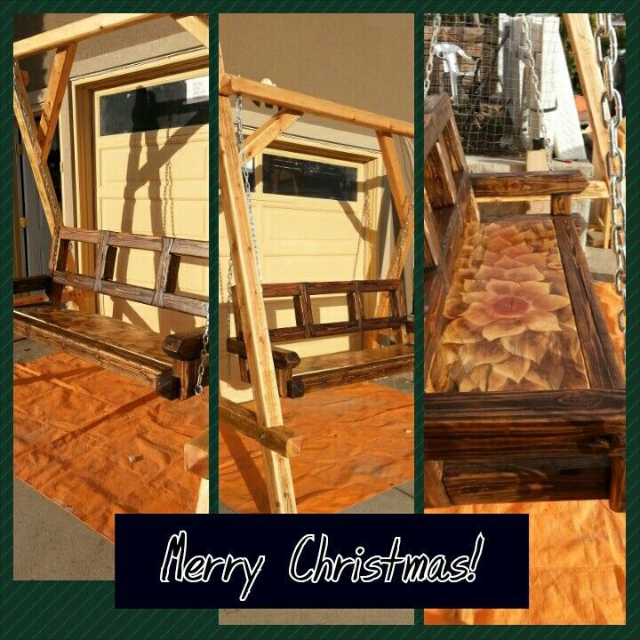 Stain art bench swing we built and i stained.  Gave to in laws for Christmas
