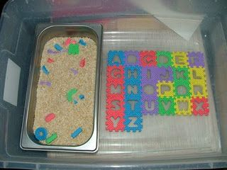 Good Alphabet Activity! Small alphabet puzzle from Dollar Tree, letters buried in rice (or maybe water beads for sensory fun?), then have child find and place in correct spot--- trace letters with finger for extra learning!