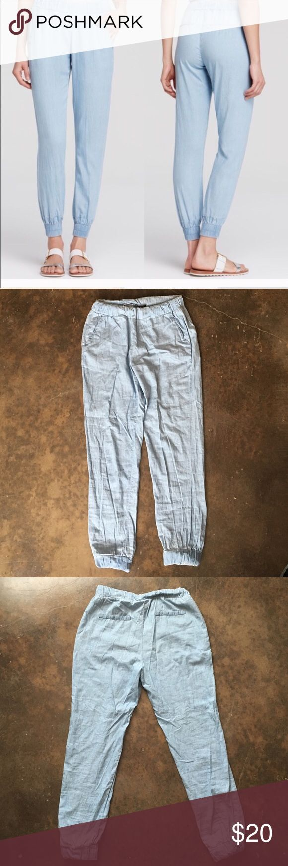 Chambray joggers Reposhing these since they didn't fit me. Soft elastic waistline, and elastic rouching on the ankles too. Very soft light chambray jean color. Front pockets are pretty deep, back pockets are faux. Aqua Pants Track Pants & Joggers