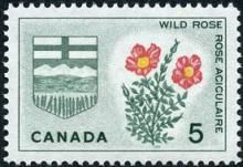 Canada Stamp -   (1966) Coat of Arms and Provincial flowers - Alberta: Wild Rose