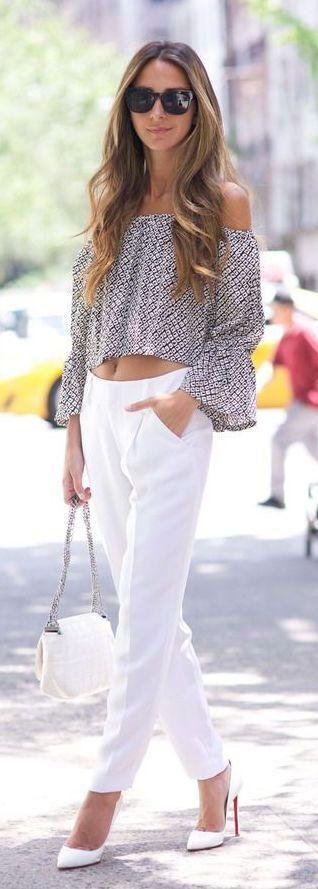 Outfits con blusa a los hombros