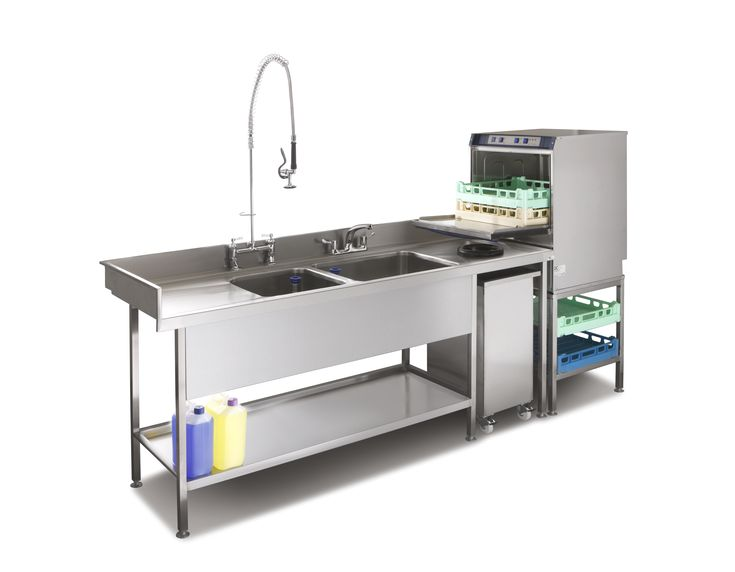 Pot wash sink and commercial dishwasher combination for Small commercial kitchen design ideas