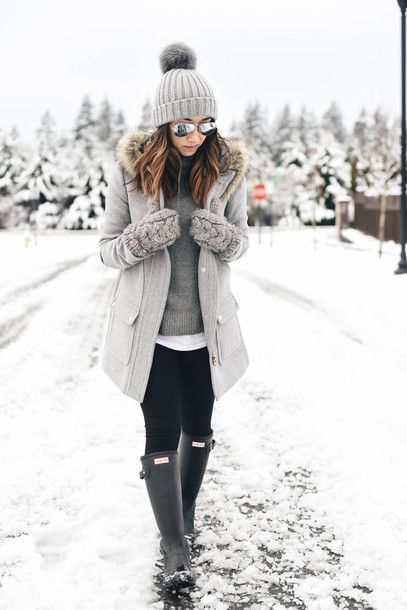 Coat: crystalin marie blogger leggings shoes hat beanie gloves winter outfits grey wellies grey