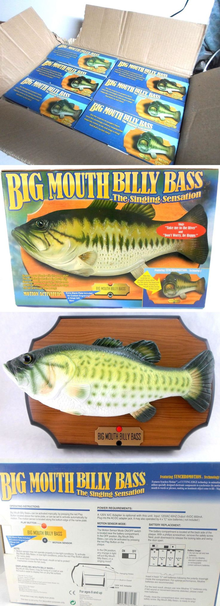 Novelties and Gifts 62143: Wholesale Case Lot Of 6 Big Mouth Billy Bass Singing Fish Mount Wall Plaques BUY IT NOW ONLY: $89.95
