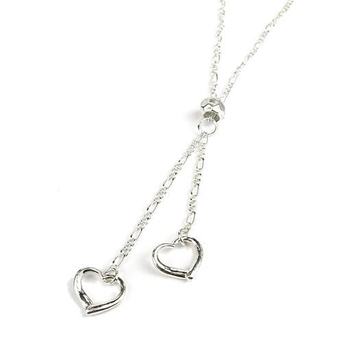Silver plated necklace with double chain and hearts | eBay