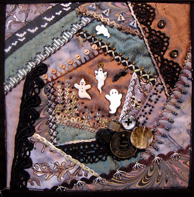 Crazy Quilt, Halloween style. I am SO inspired!