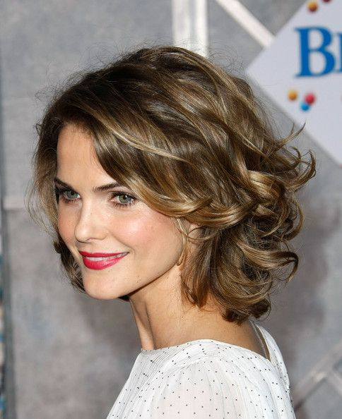 Keri Russell's curly layered shoulder length cut.