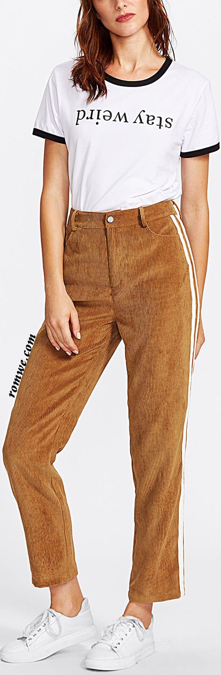 Striped Side Cord Pants