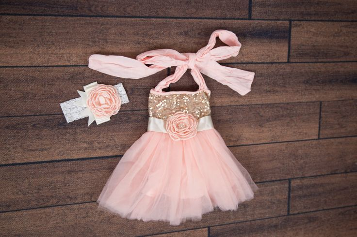 Pink Flower Girl Dress, Blush Tulle Headband Set, Gold Sequin Dress, Halter Dress, Miniature Bridesmaid, First Birthday, Cake Smash by NicolettesCouture on Etsy https://www.etsy.com/listing/459266968/pink-flower-girl-dress-blush-tulle