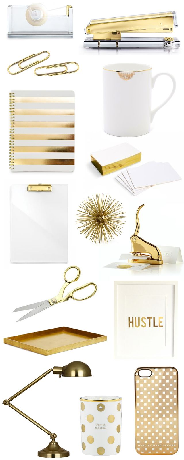 Gold office accessories.