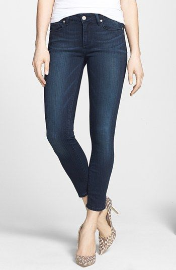 Free shipping and returns on PAIGE 'Transcend - Verdugo' Crop Skinny Jeans (Midlake) at Nordstrom.com. Tonal topstitching and a perfectly faded dark-blue wash create a polished look in cropped skinny jeans crafted from performance-fiber TRANSCEND denim that provides a hint of stretch with incredible shape retention.