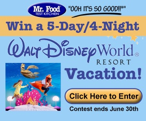 Enter to win a Disney World vacation! Plus 10 lucky people will win 50 dollar Disney gift cards-