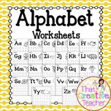 Alphabet Tracing Worksheets A-Z great for Preschool or Kindergarten.  Created by That Creative Teachers
