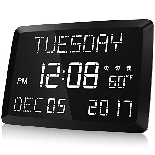 """Raynic 11.5"""" Digital LED Dimmable Calendar Alarm Day Clock with Indoor Temperature, 3 Alarm Options, Dimmable Wall/Desk Clock for Elderly, Memory Loss, and Impaired Vision."""