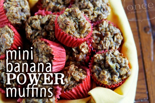 Mini Banana Power muffins! Sure to give you that kick out the door! #freezer #freezercooking #breakfast