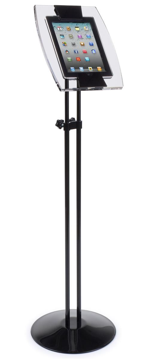 Adjustable iPad Floor Stand w/ Acrylic Enclosure, Tilting Bracket WITH Lock