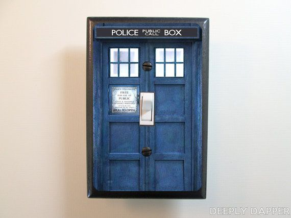 Doctor who inspired tardis light switch plate dr who for Tardis light switch cover
