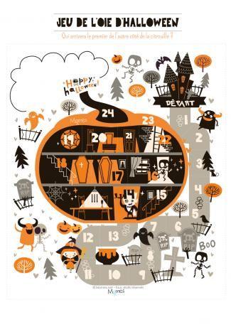 FREE printable Halloween game: jeu de l'oie halloween
