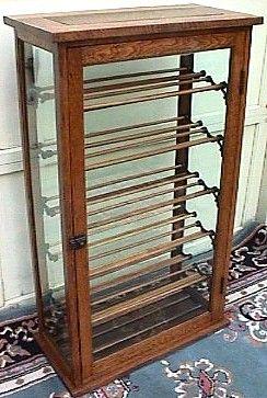Oak Ribbon Cabinet with Glass Door, BRASS LANTERN ANTIQUES