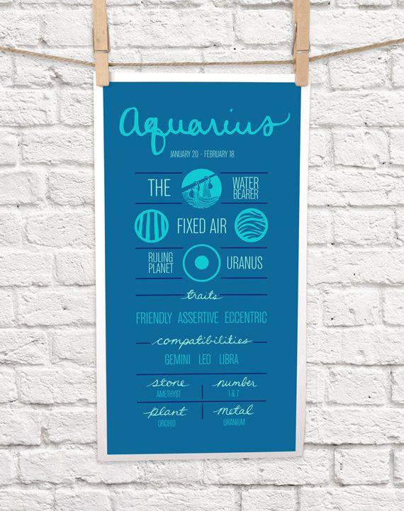 AQUARIUS Zodiac Print Poster Illustration of Birth by ZodiacZone