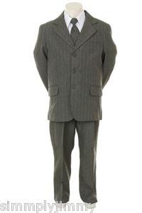 Boys Gray Pin Stripe Formal Dress Tuxedo w/Vest 5-piece Suit Set size S-XL 2T-20   eBay