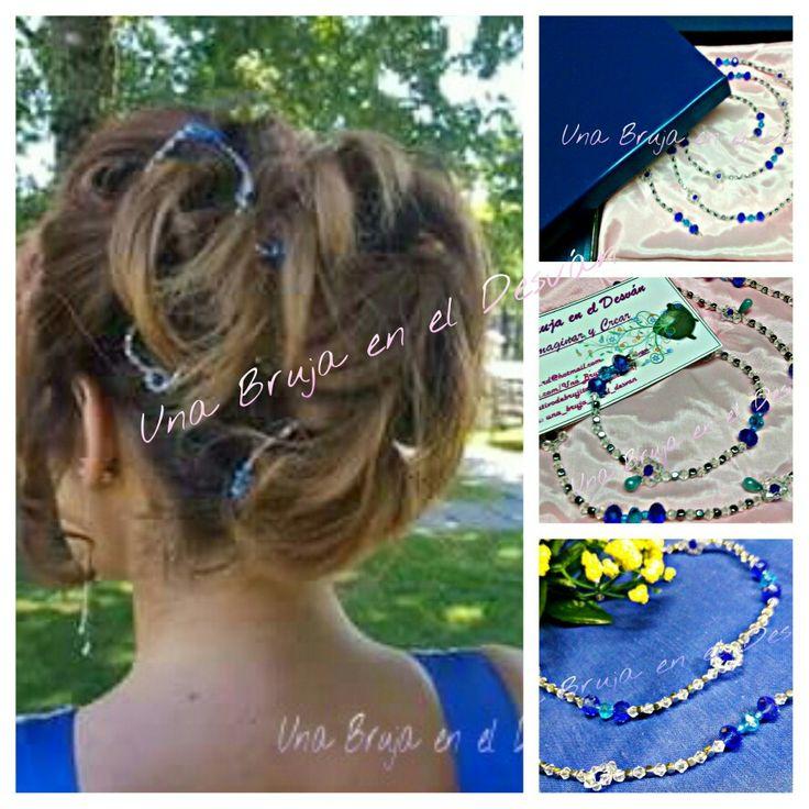 """https://m.facebook.com/Una-Bruja-en-el-Desvan-749822558496828/ COLECCIÓN TOCADOS Tocado """"ISLA ZAFIRO"""" Sutil, delicado y elegante. Con 330 piezas de cristal en tonos azules, blanco y plata y 1 metro de longitud engarzadas en alambre de joyería, este precioso tocado viajó a Orense para adornar el pelo de Arancha. Le ha encantado ¡¡¡y yo tan feliz!!!. Diseño y elaboración completamente a mano por Montse El Desván Creativo de Brujita"""