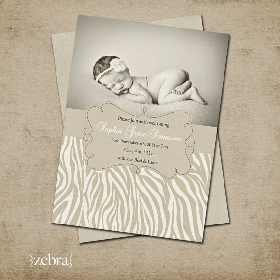 $15 - Zebra Birth Announcement
