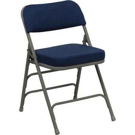 cool Hercules Hinged Fabric Padded Folding Chair - 4-Pack, Navy Blue