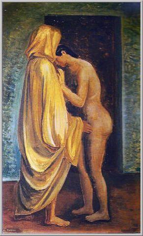 Mario Tozzi 1933: Confidenze. Olio su Tela cm.65x42 - Collezione Privata - Archivio n.1751 - Catalogo n.33/8.