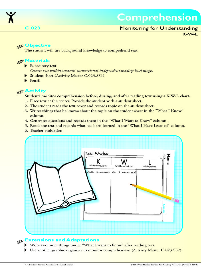 Comprehension - The student will use background knowledge to - student sign in sheet