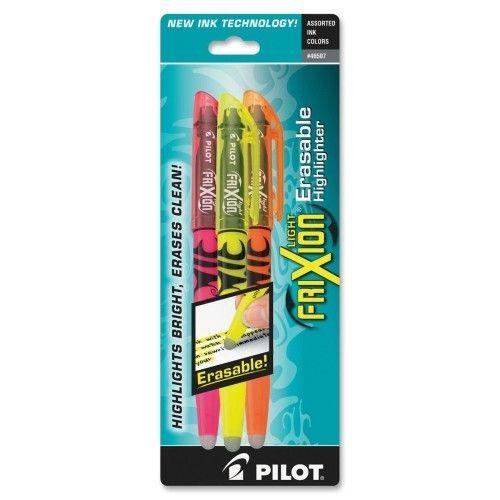 pilot pen corporation of america erasable highlighter, chisel point, 3/pk, assorted