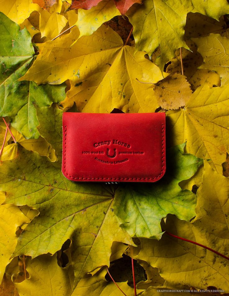 Leather Business & Credit Card Holder / Wallet | Autumn Red