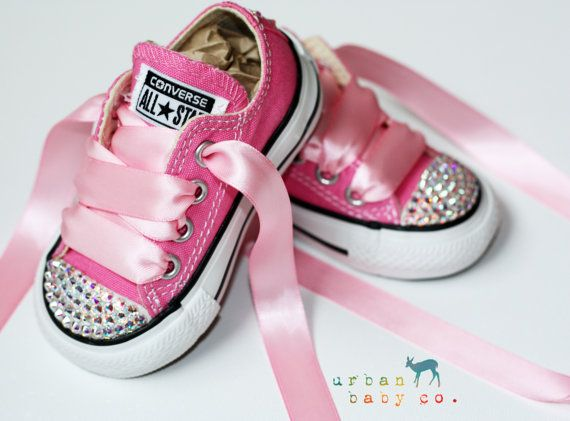 Infant, Toddler Low Top Baby Girl Pink Converse All Star Chuck Taylor's With Pink Ribbon Laces & Swarovski Crystal Rhinestones | Urban Baby Co.