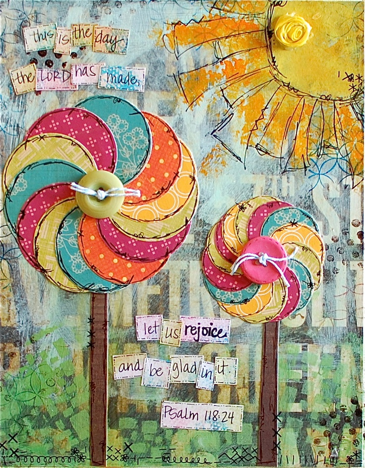 This is the day scripture pinwheel word art print - 5x7 mixed media. $12.00, via Etsy.