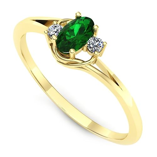 Inel de logodna realizat din aur galben, cu smarald si 2 diamante. Pret avantajos!