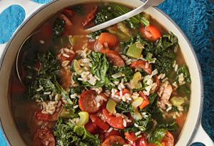 cajun kale soup: tried it with mom from oprah's magazine. if you love andouille sausage and spicy cajun soups try this!!!