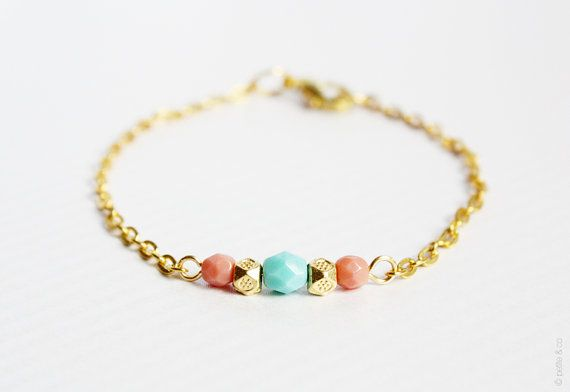 mint coral and gold beaded bracelet  minimal jewelry by PetiteCo, $13.00