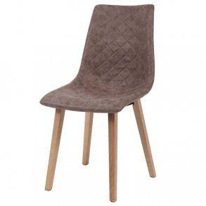 Zagg - spisebordsstol i træ og mørkebrunt læder
