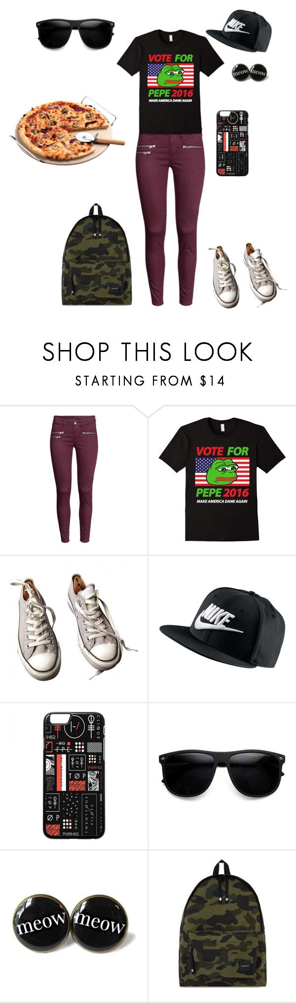 """""""What is this?"""" by cupcakes-fave-fashion ❤ liked on Polyvore featuring H&M, PèPè, Converse, NIKE, A BATHING APE, weird, casualoutfit, pizza and pepeforpresident"""